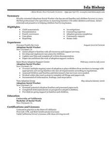 resume for social worker manager adoptions social worker resume exles social services