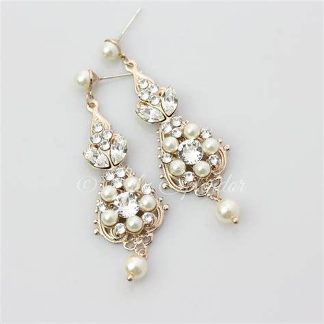gold bridal earrings chandelier earrings vintage