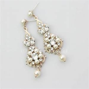 rose gold bridal earrings chandelier earrings vintage With gold wedding ring earrings