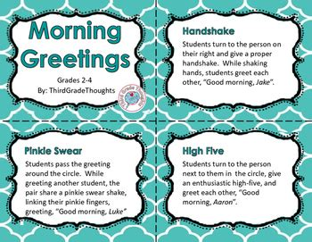 morning meeting  cards   grade thoughts tpt