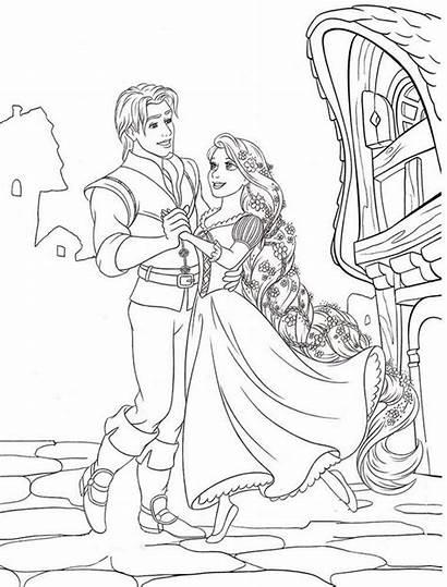 Coloring Tangled Rapunzel Pages Disney Dancing Princess