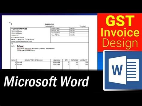 design simple gst invoice format  ms word