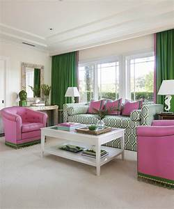 Bold, Green, And, Pink, Living, And, Bedroom