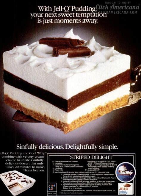 striped delight vintage dessert recipe  click
