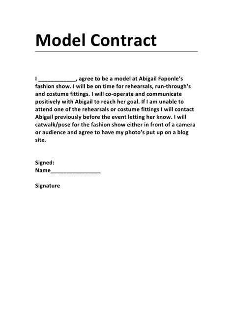 model contract  printable documents