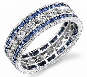 Exquisitely designed sapphire wedding jewelry for the big for Diamond engagement ring with sapphire wedding band