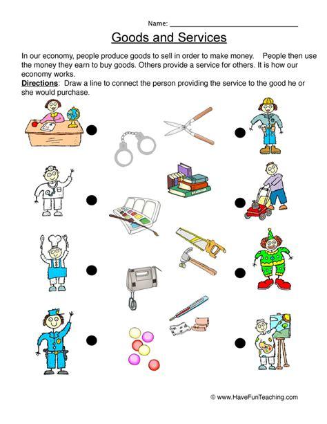grade worksheet  goods  services