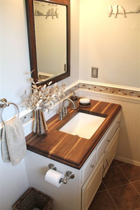 Small Countertop by Small Bathroom With Walnut Wood Countertop Www