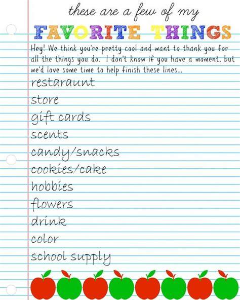 Teacher Appreciation Week Questionnaire & Gift Ideas