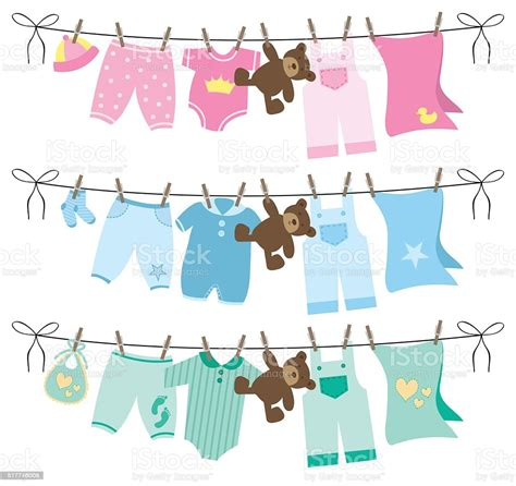 Baby Clothes On Clothesline Vector Illustration Stock