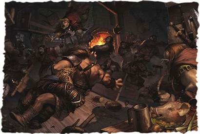 Pathfinder Inn Fantasy Barbarian Fight Dragons Dungeons