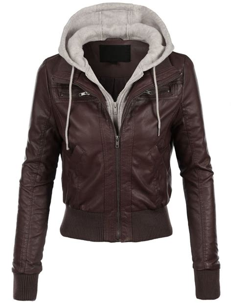 casual motorcycle womens casual motorcycle fleece hoodie faux leather jacket