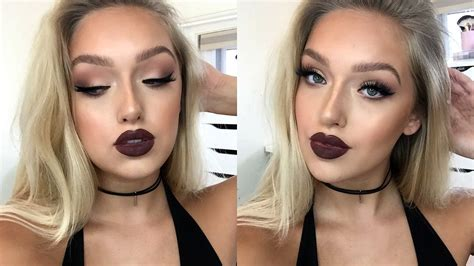 instagram baddie makeup tutorial matte eyes dark lips outfit youtube