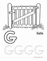 Gate Coloring Letter Pages Writing Alphabet Preschool Worksheet Sheet Sheets Themes Cleverlearner sketch template