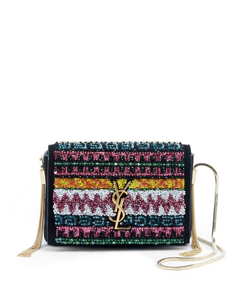 saint laurent kate monogram ysl small sequin tassel side chain crossbody bag neiman marcus