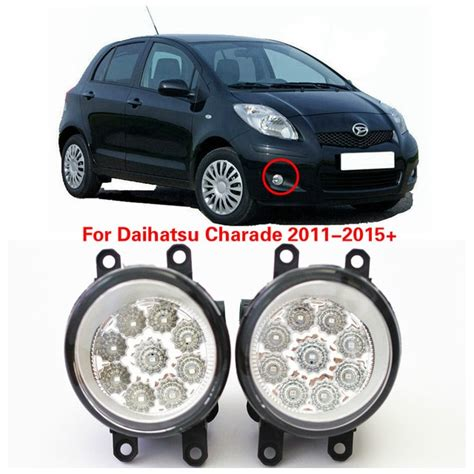 2016 real rushed external lights car styling for daihatsu charade 2011 2015 led fog l drl