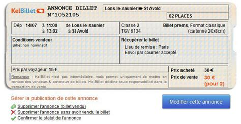 Condition Modification Billet Sncf by Revente Billet Idtgv