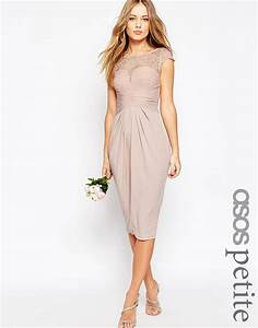 asos wedding lace top pleated midi dress in pink nude lyst With midi wedding dress