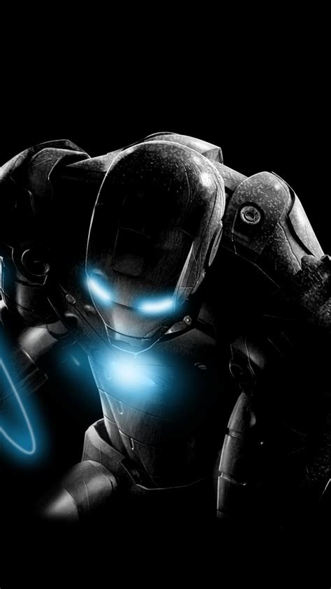 iron man glowing black background wallpaper