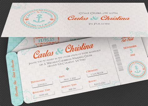 wedding cruise boarding pass invitation template inspiks