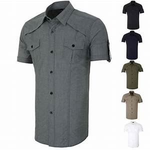 Stylish Mens Short sleeve Button-Down Military Shirts Tops ...