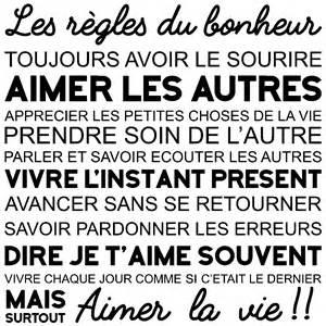 Les Veilleurs De Vie by Sticker Citation Les R 232 Gles Du Bonheur Stickers
