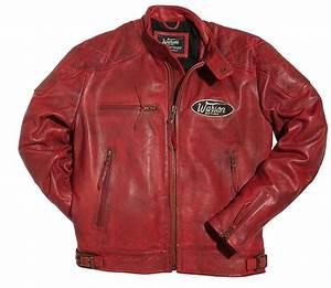 Veste En Cuir Rouge Homme : blouson warson motors motorcycle cuir rouge warson vestes blousons homme ~ Melissatoandfro.com Idées de Décoration