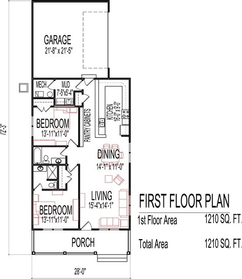 single small house plans small low cost economical 2 bedroom 2 bath 1200 sq ft