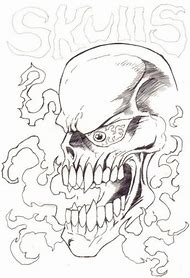 Evil Flaming Skull Drawings