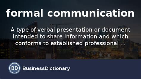 formal communication definition  meaning