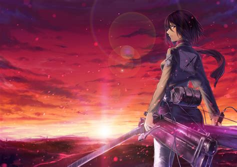hd wallpaper mikasa  maneuver gear sunset