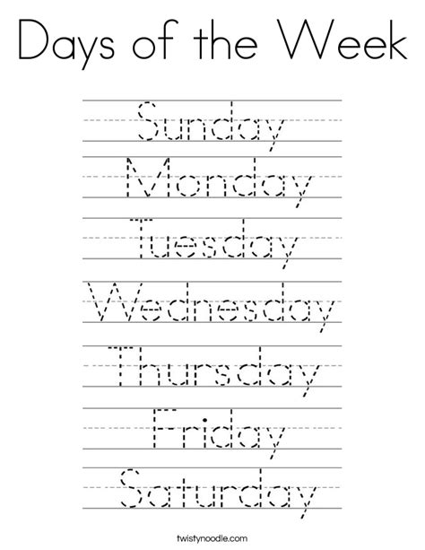 pre k worksheets days of the week days of the week coloring page twisty noodle