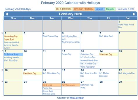 print friendly february calendar printing