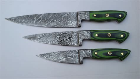 made kitchen knives lot of 3 pcs damascus kitchen chef s knife custom handmade