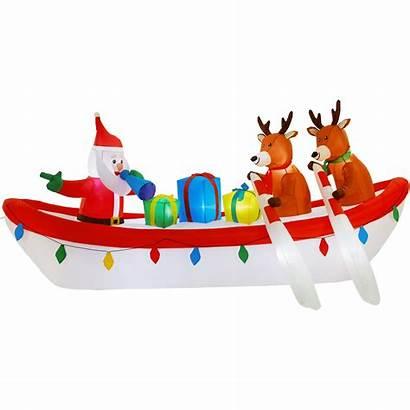 Inflatable Santa Boat Reindeer Holiday Row Lights