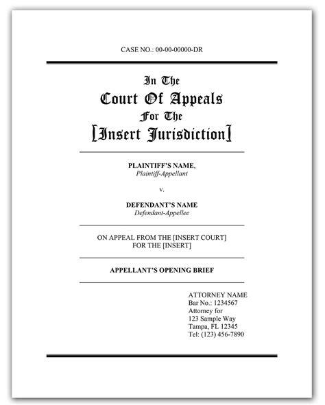 appellate brief template appellate brief cover page appellate brief templates