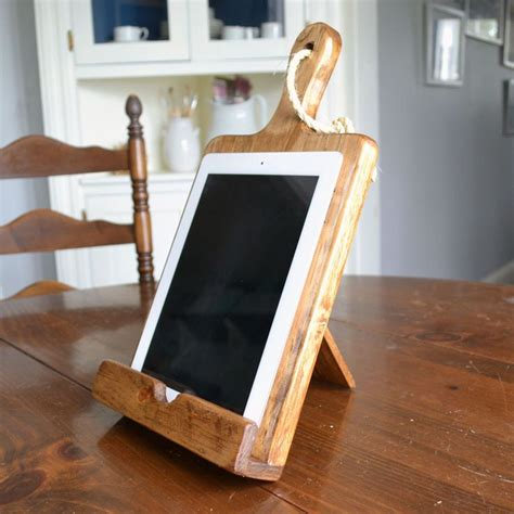 Rustic Wood Ipad Stand For The Kitchen Cutting Board By