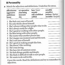 Click On Vocabulary To Describe People's Appearance & Personality