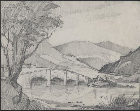 landscaping sketches james priddey 1916 1980 river landscape beautiful original pencil drawing