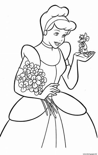 Coloring Pages Cinderella Princess Printable Kid Prints