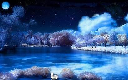 Winter Night Scenes Scene Desktop Wallpapers Snowy