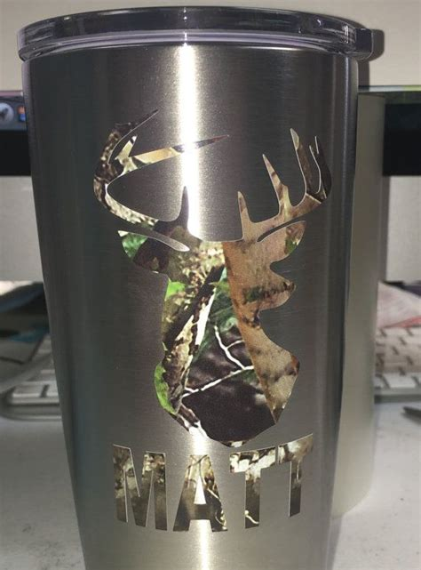 camo deer head  rifle guns personalized decal yeti tumbler  monogram  initials listing