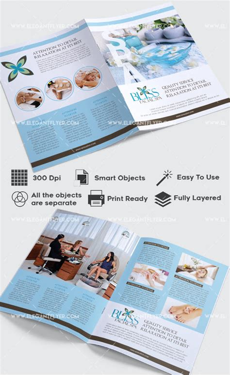 Free Relaxing Salon For Bi Fold Psd Brochure By Elegantflyer 30 Free Brochure Templates For Food Health And