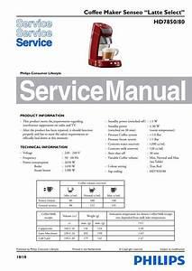 Philips Senseo Latte Select Hd7850 80 Service Manual Free
