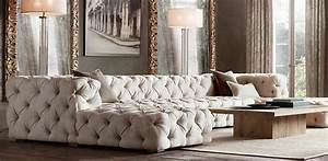 Tufted couch for the home pinterest for Restoration hardware tufted sectional sofa