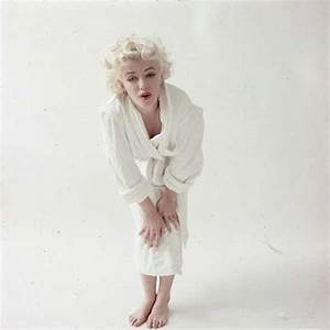 m marilyn white robe sitting photo by milton greene With robe marylin