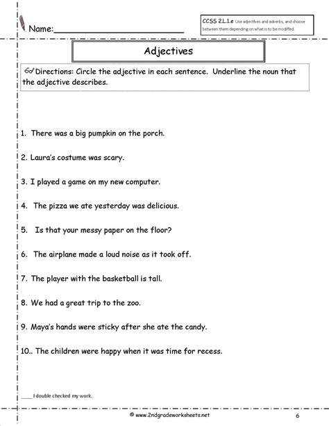 printable worksheets  adjectives  grade