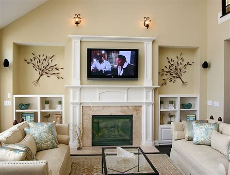 beautiful fireplace  tv  living room  tv