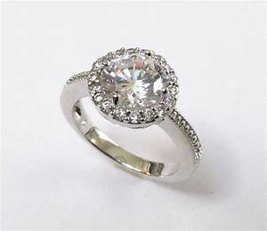 Halo cz ring rhodium plated cz wedding ring sizes 7 to 9 for Rhodium wedding ring