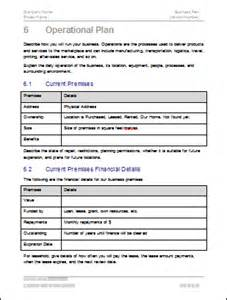 Business Operations Plan Template